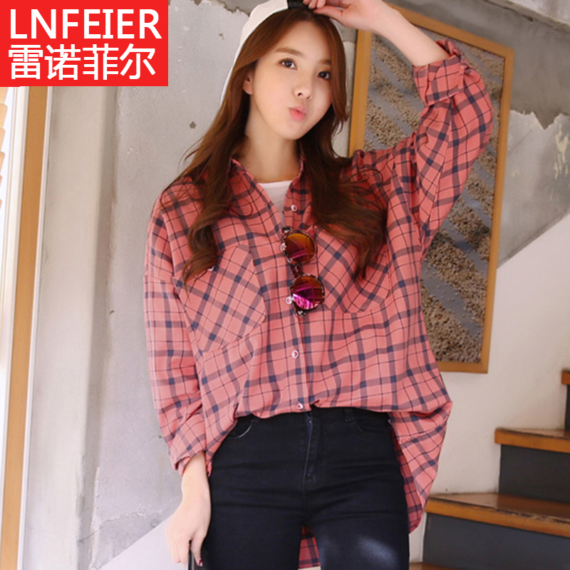 2016 autumn plaid shirt female long section of loose big yards korean version of college wind casual shirt bf
