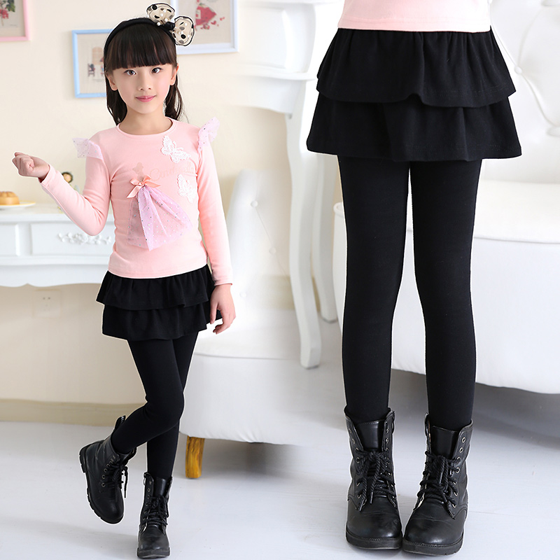 2016 autumn winter kids girls bottoming skirts fake two skirt dress zhongshan university children plus thick velvet spring and outer wear