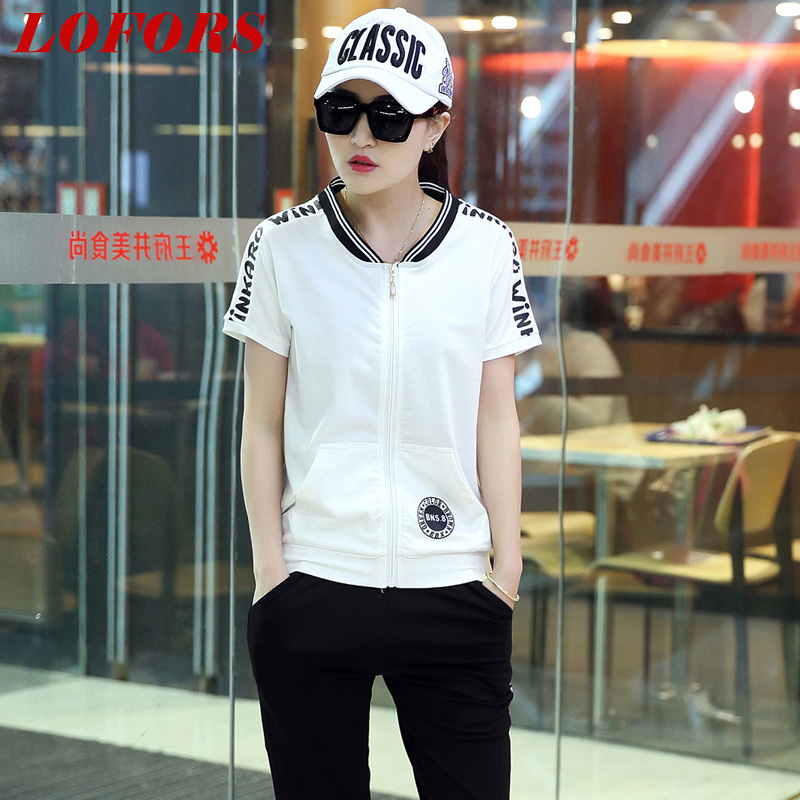 2016 casual sportswear suit female summer loose short sleeve pant sports suit female summer fat mm piece