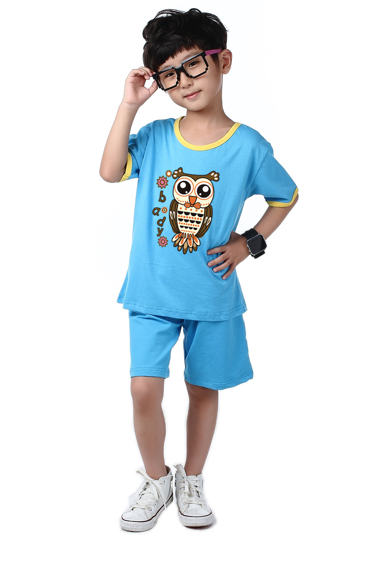 2016 children's clothing suit cartoon t-shirt boys and girls summer suit
