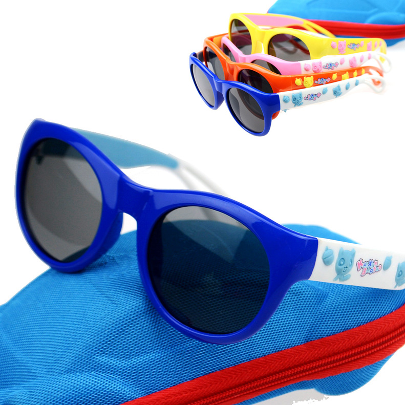 2016 children's sunglasses polarized sunglasses tide boys and girls infant baby soft anti purple outside