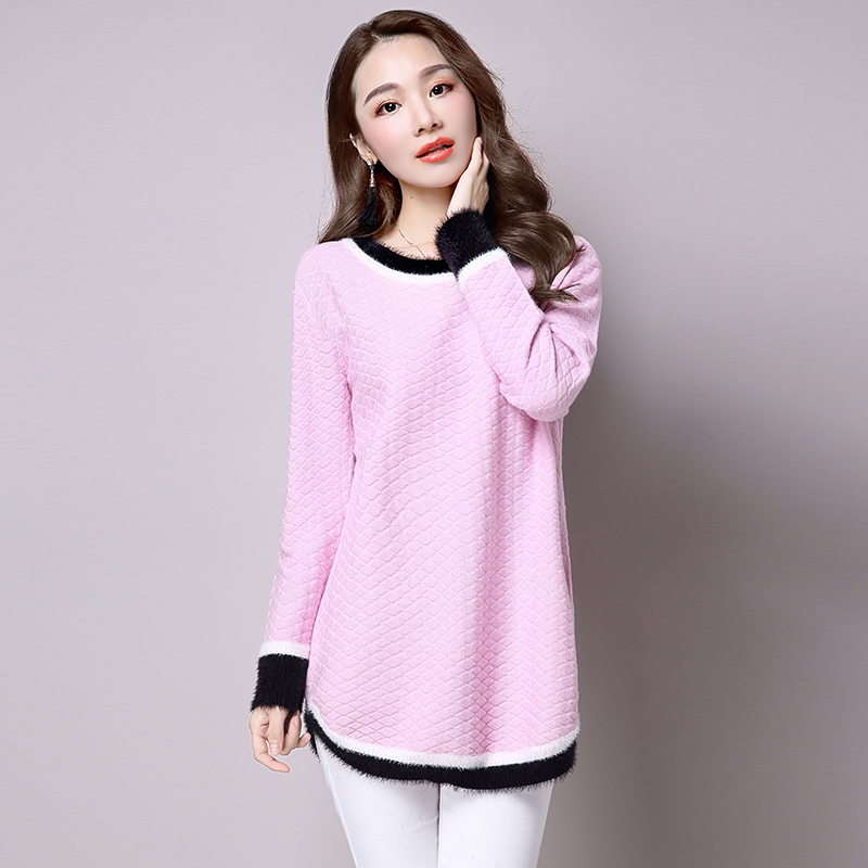 2016 dongkuan hedging round neck sweater female korean long section of loose knit sweater female dongkuan bottoming shirt