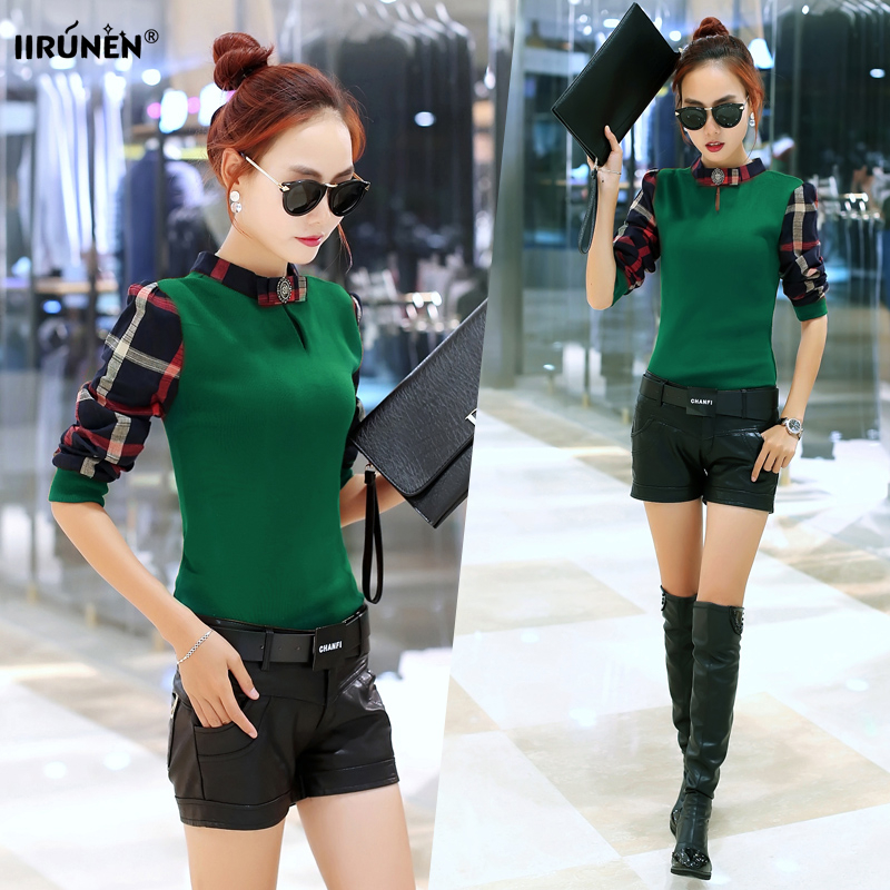 2016 fall and winter clothes new korean fashion spell color plaid long sleeve t-shirt female t-shirt slim was thin bottoming shirt tide