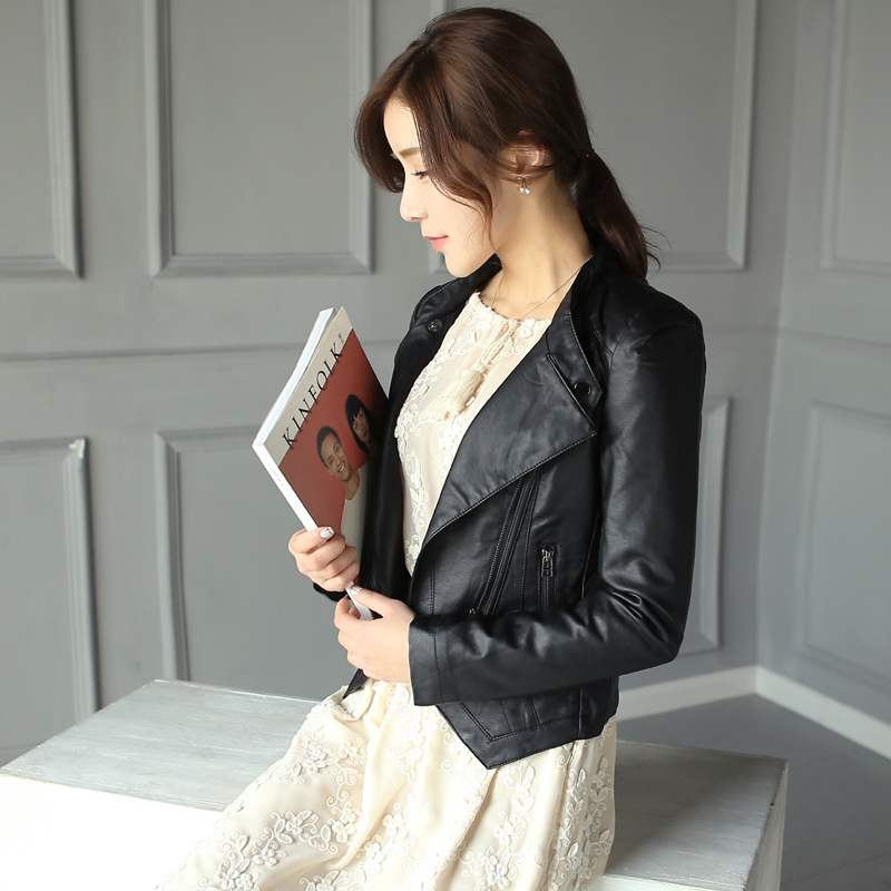 2016 hitz women korean pu leather motorcycle female short paragraph slim leather jacket small leather jacket women short jacket