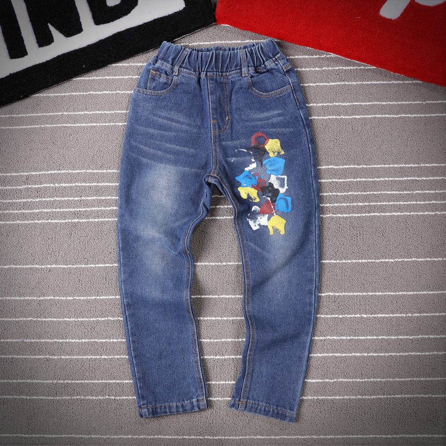 2016 kids spring and autumn paragraph boy pants korean boy pants children's jeans big boy pants spring tide