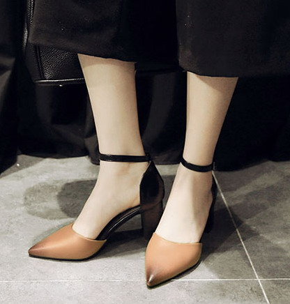 2016 korean fashion sexy pointed stiletto sandals buckle korean version of the package root bottomed shoes high heels shoes wild summer
