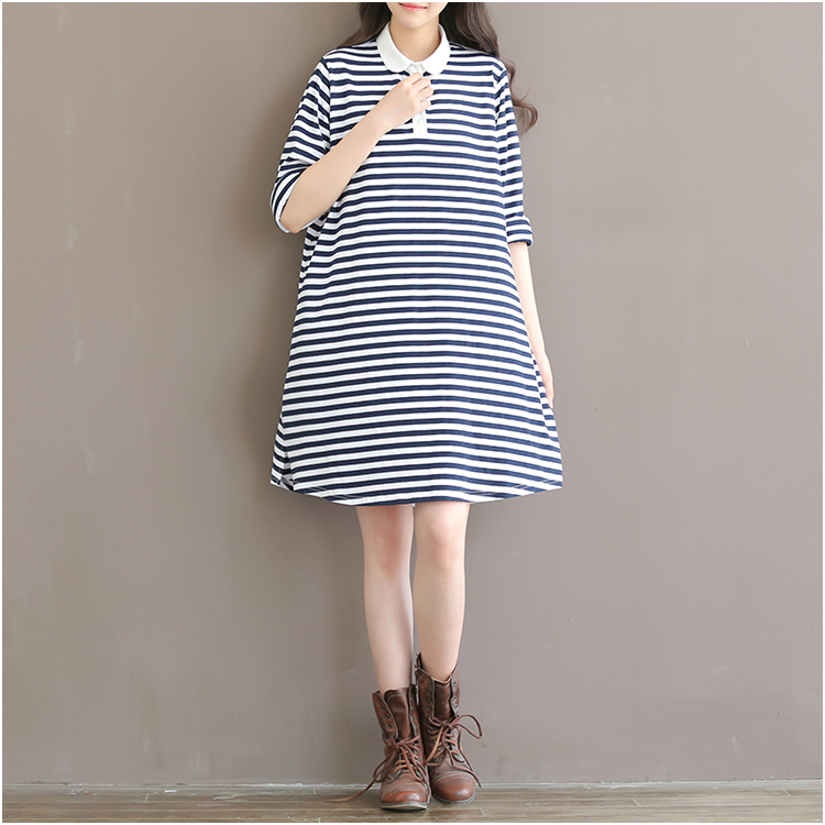 2016 korean version of spring and summer sowing new college wind striped navy wind dress polo collar loose cotton short sleeve