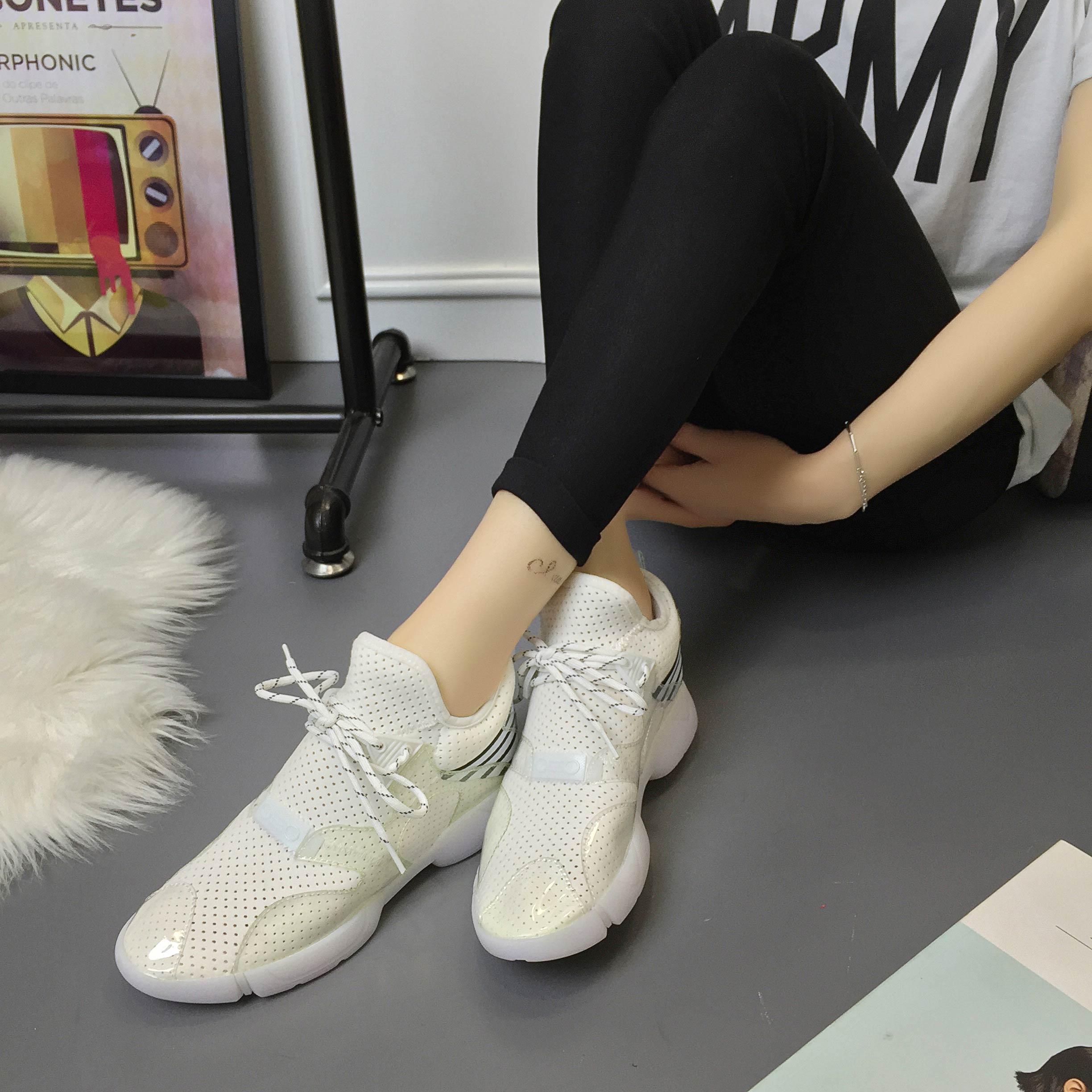 2016 korean version of spring and summer sports shoes candy color fluorescent color fashion casual shoes running shoes breathable mesh shoes shoes thick crust