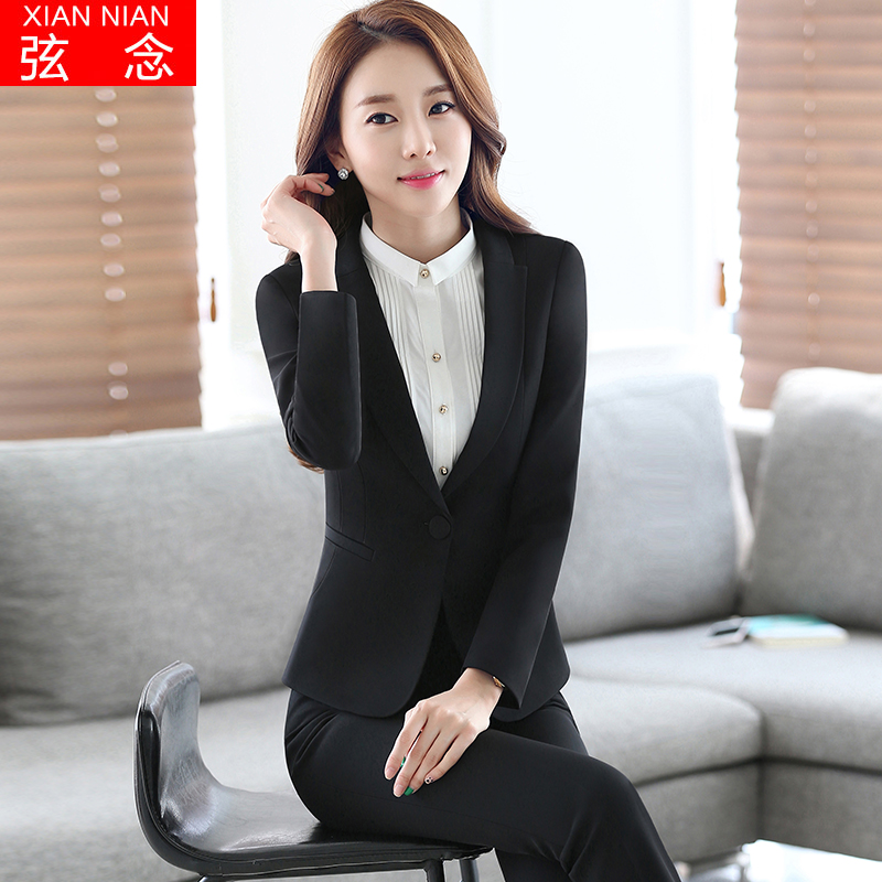 2016 korean version of the fall and winter wear women's suits弦念long sleeve korean version of the white collar business suit pants chaps