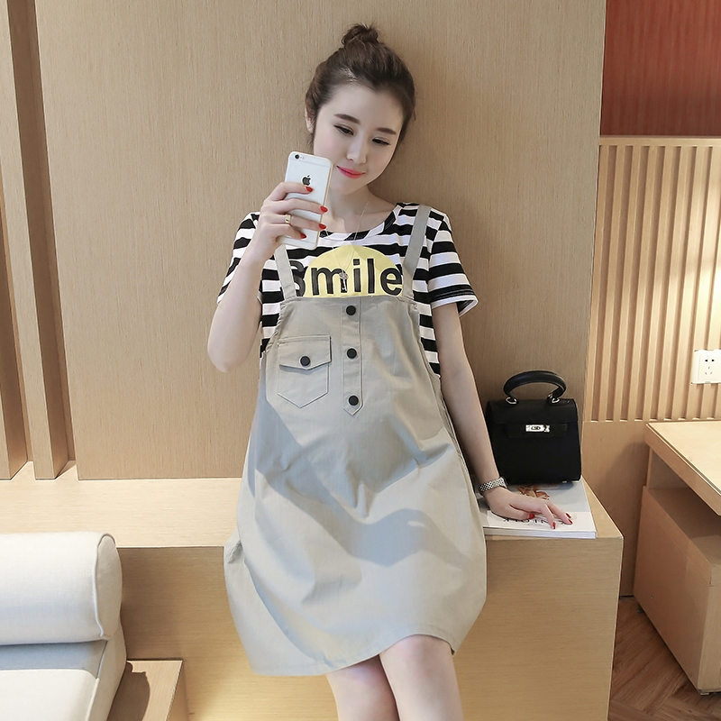 2016 korean version of the maternity summer short sleeve and long sections fake piece of pregnant women dress fashion summer dress strap dress
