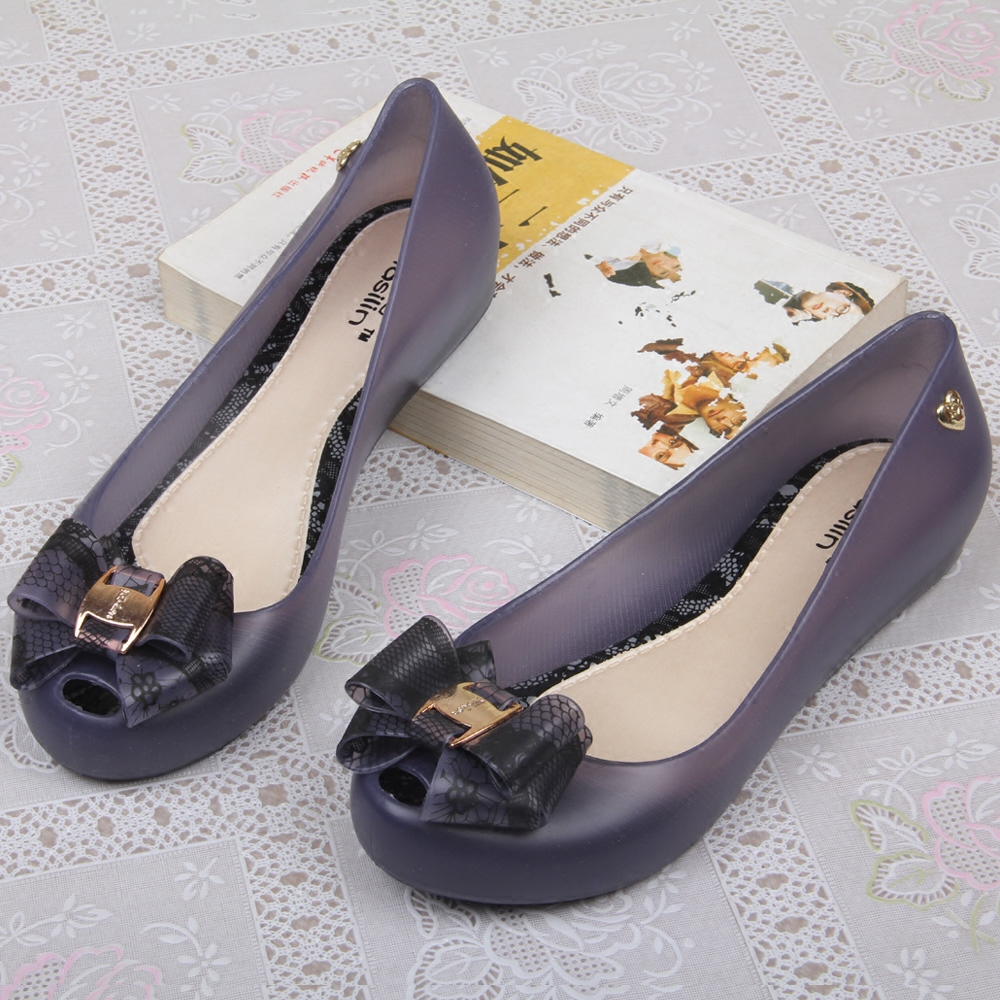 48eb26a63 2016 korean version of the new summer jelly shoes women bow pointed flat  sandals plastic shoes
