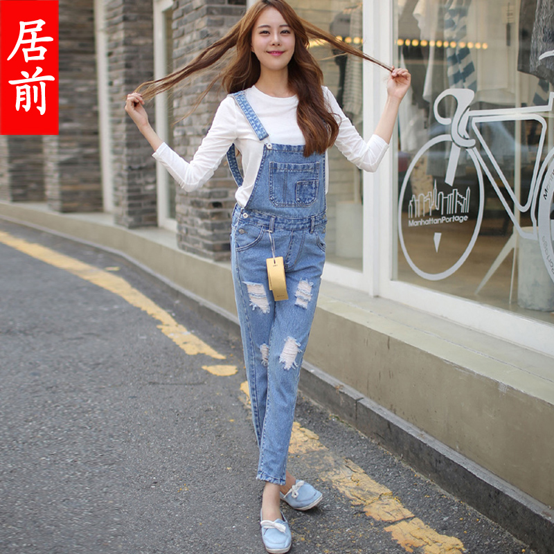 32cea99c497 Get Quotations · 2016 korean version of the summer and the wash water mill  white denim overalls hole loose