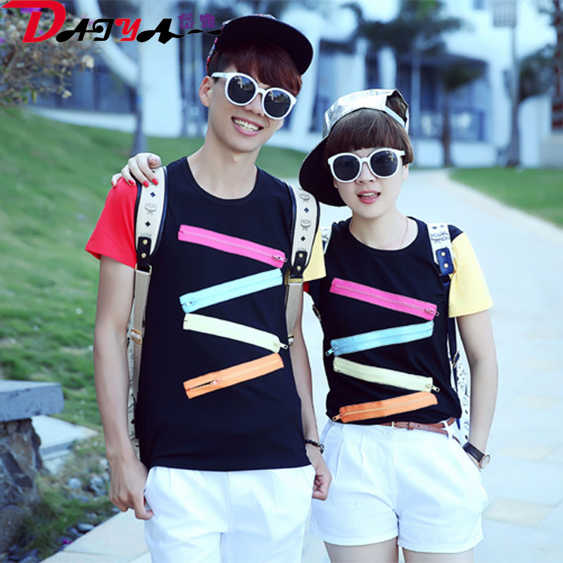 2016 lovers summer korean version of the new patch casual spell color round neck short sleeve t-shirt slim male and female models