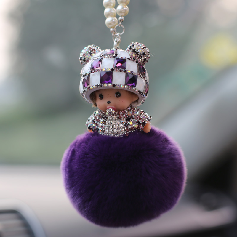 2016 models qiqi rabbit fur ms. flash diamond diamond diamond ornaments car pendant car hanging ball free shipping