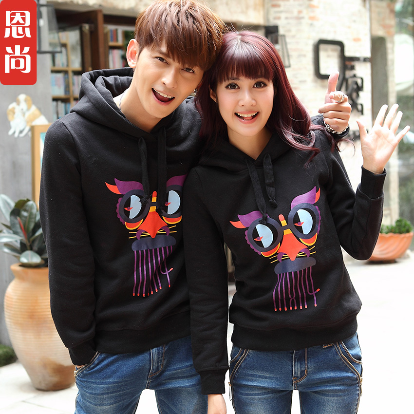 2016 new autumn and winter female lovers fall and winter clothes korean version of the hedging plus velvet hooded sweater coat big yards students