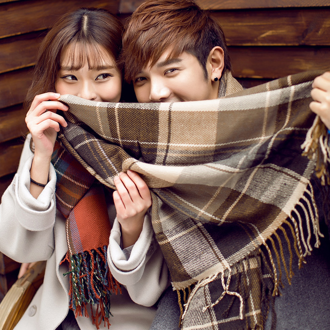 2016 new autumn and winter men's long thick plaid wool scarf knitted scarf shawl female couple winter
