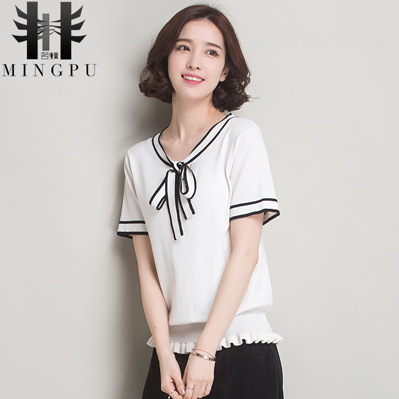 2016 new autumn and winter sweater wild female korean version of a short section hedging sweater female backing shirt short sleeve t-shirt women