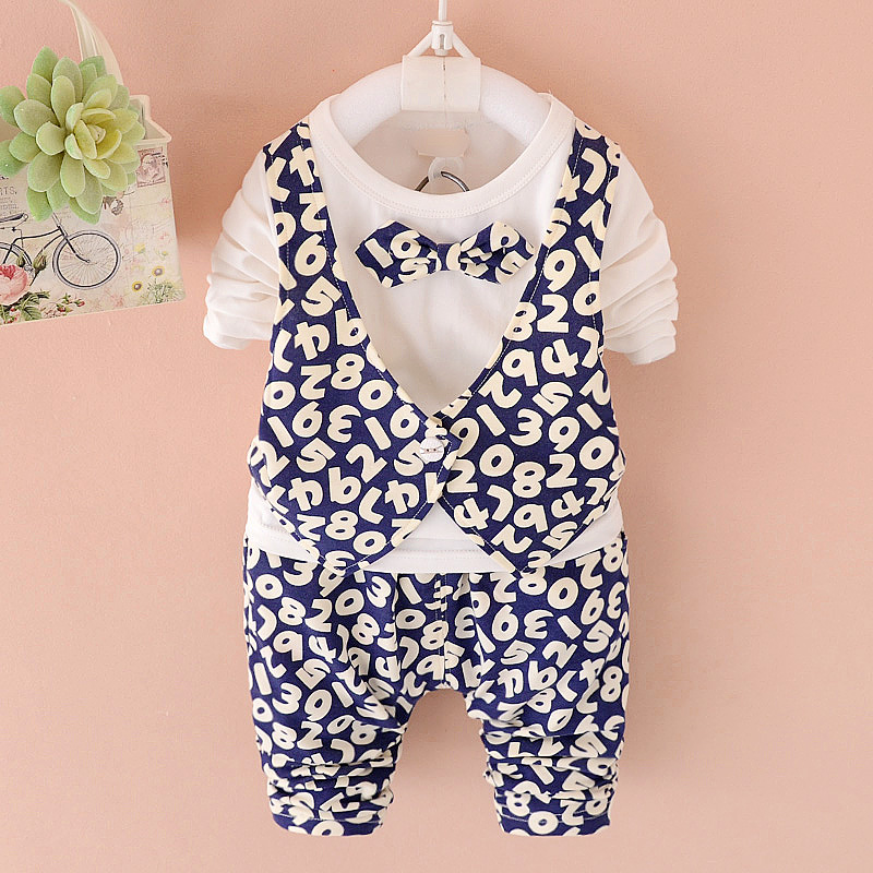 2016 new baby boy child spring and autumn 0-1-2-3-year-old infant long sleeve suit korean children's clothing