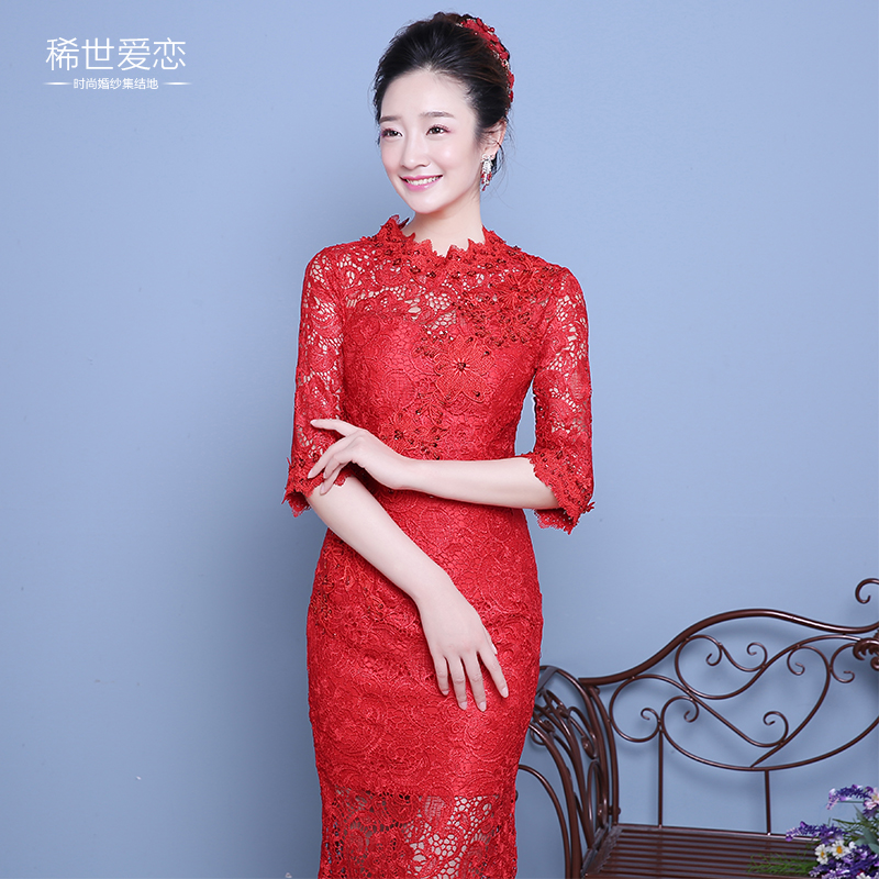 2016 new bride toast clothing wedding etiquette cheongsam dress long red dress toast the bride wedding dress cheongsam daily