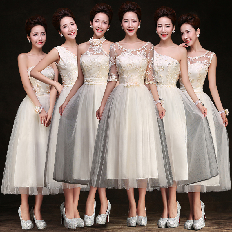 2016 new champagne bridesmaid dress long section group wedding bridesmaid dress banquet evening dress bridal gown