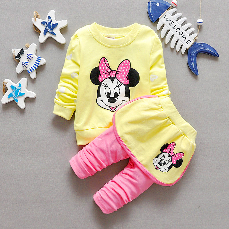 2016 new children's clothing female baby spring and autumn children's suits girls spring 0-1-2-3 years old cartoon Baby clothes