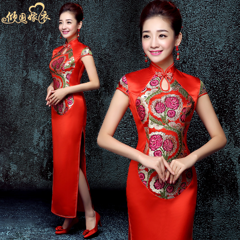 2016 new chinese wedding dress bridal dress toast clothing spring and long sections red flag chinese wedding gown wedding dress
