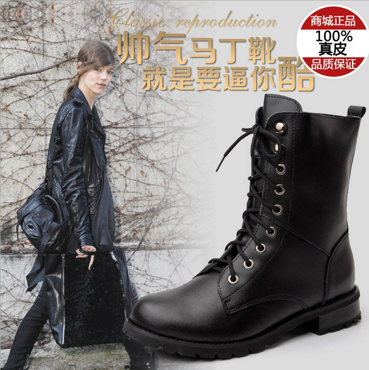 2016 new england autumn and winter cow split leather flat boots with martin boots motorcycle boots knight boots women shoes women boots
