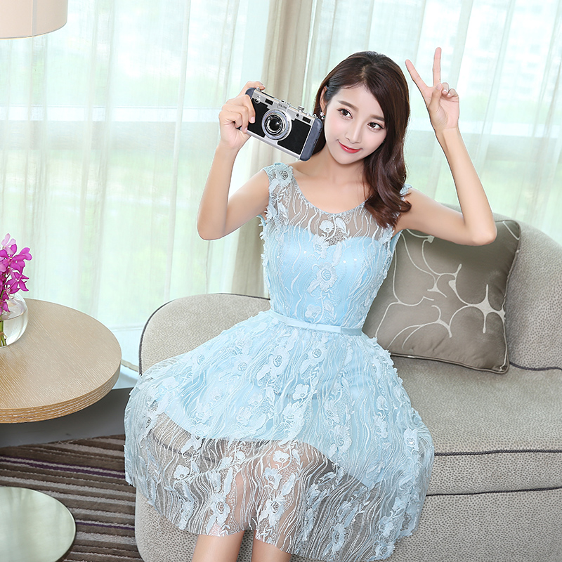 2016 new fall dress evening dress short paragraph bride toast clothing engagement blue evening dress korean version was thin fashion