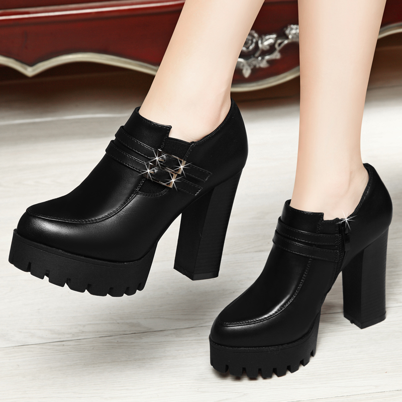 2016 new fall shoes waterproof platform shoes thick with high heels shoes black work shoes tide shoes women shoes wedding shoes