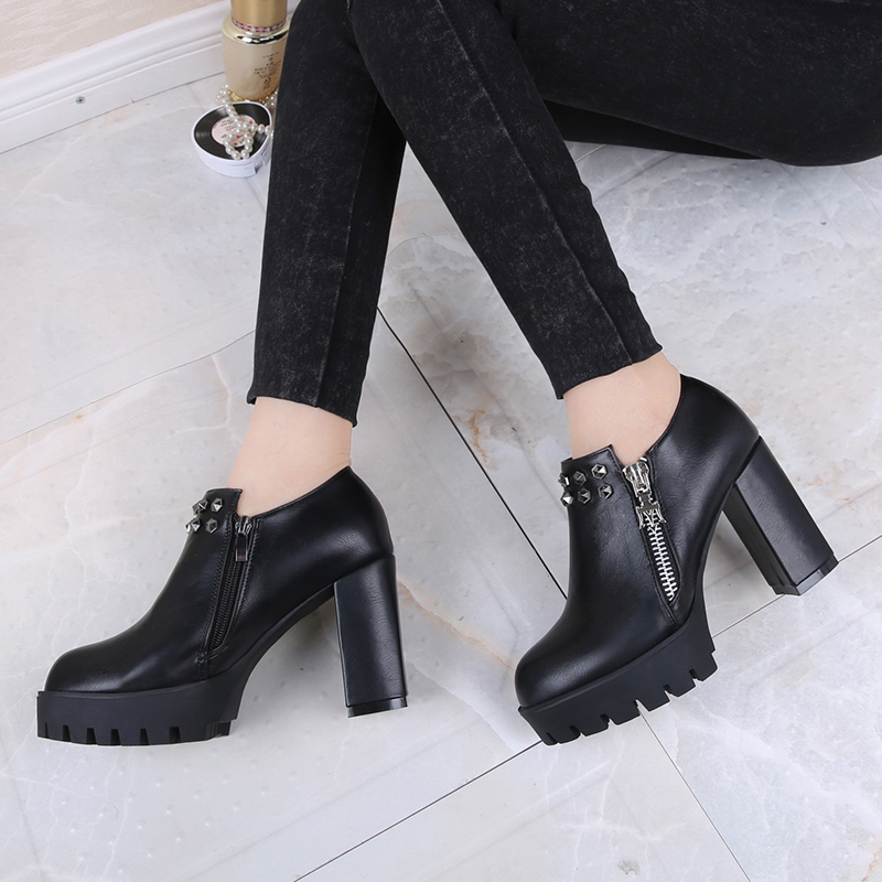 2016 new fall shoes women shoes high heels shoes tide shoes korean women's fashion round rivets thick with thick soles