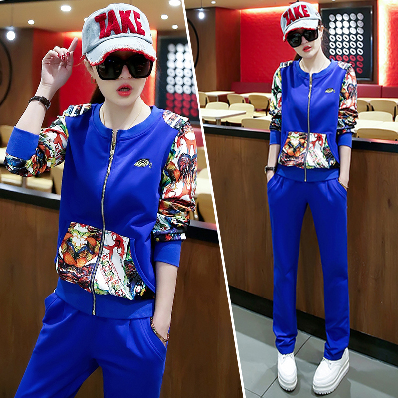 2016 new fall sports suit female spring fashion leisure suit sportswear suit female autumn slim was thin