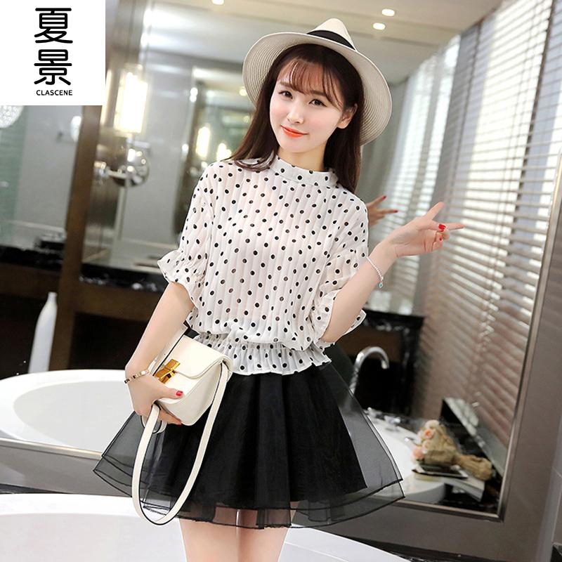 910cf55df3bc0d Get Quotations · 2016 new girls summer dot chiffon blouse piece skirt suit  skirt organza tutu skirt high school