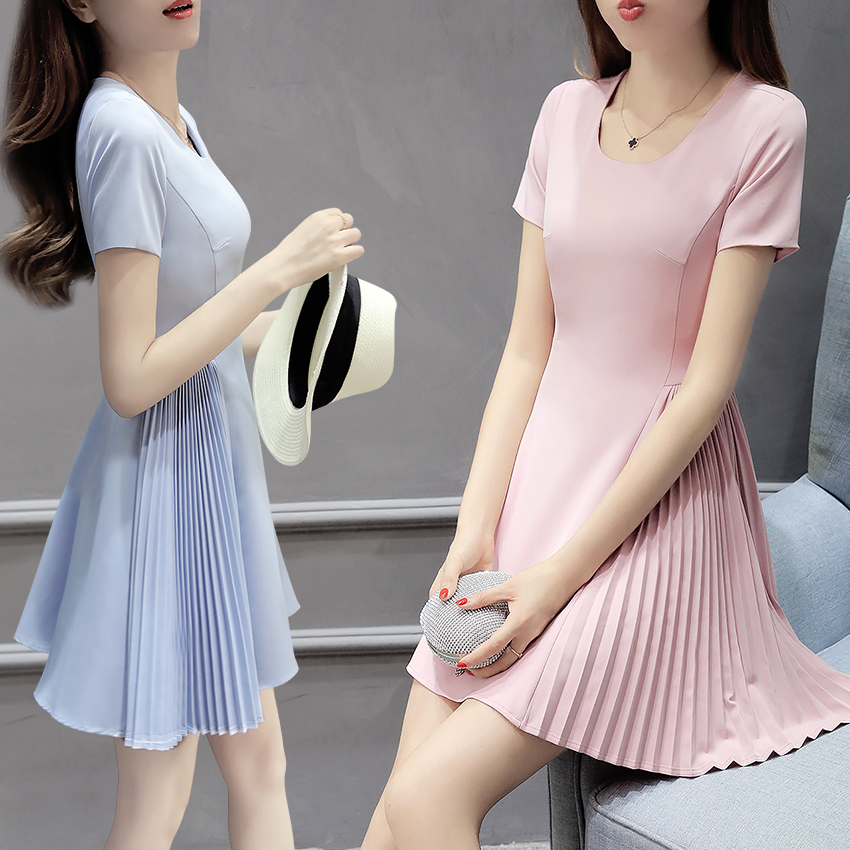 2016 new high waist a-line dress female summer pink ladies small fragrant wind v-neck slim was thin in autumn Skirt