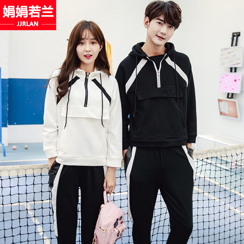 2016 new korean version of casual sports lovers fall and winter clothes for men and women plus thick velvet sweater middle school class service suite
