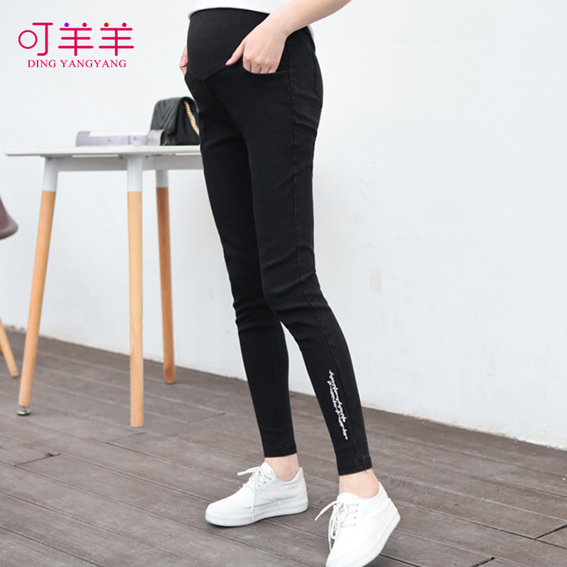 2016 new korean version of the maternity pants spring thin section denim pencil pants stretch pants feet care of pregnant women care belly pants long pants