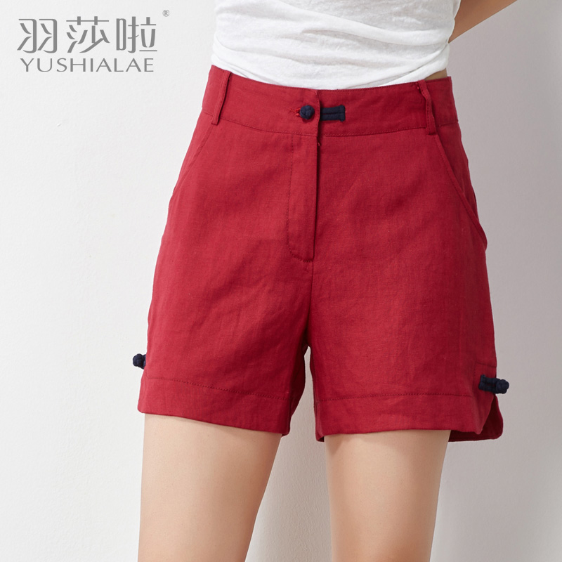 2016 new large size high waist cotton loose fashion style casual shorts hit the color china ethnic linen shorts female summer