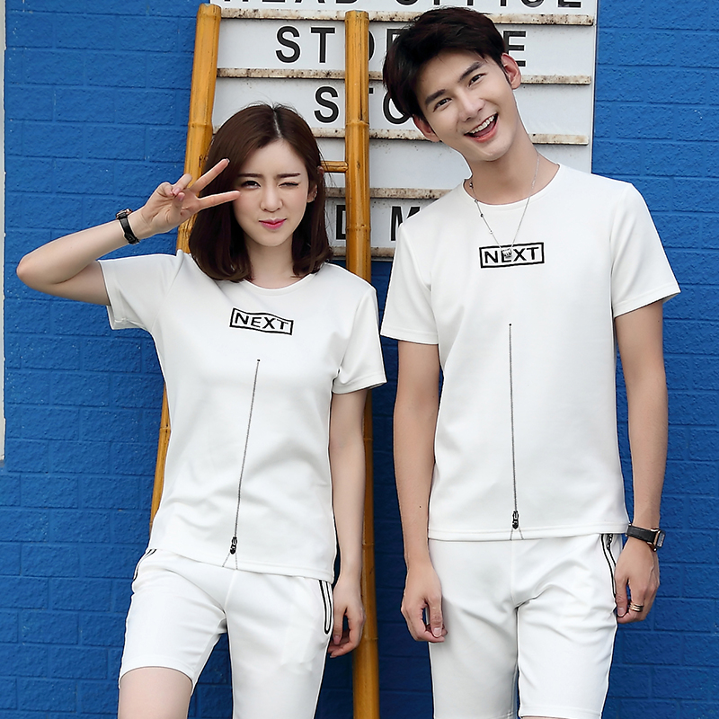 2016 new lovers summer korean version of the t-shirt lovers round neck short sleeve sleeve suit male sports suit tide