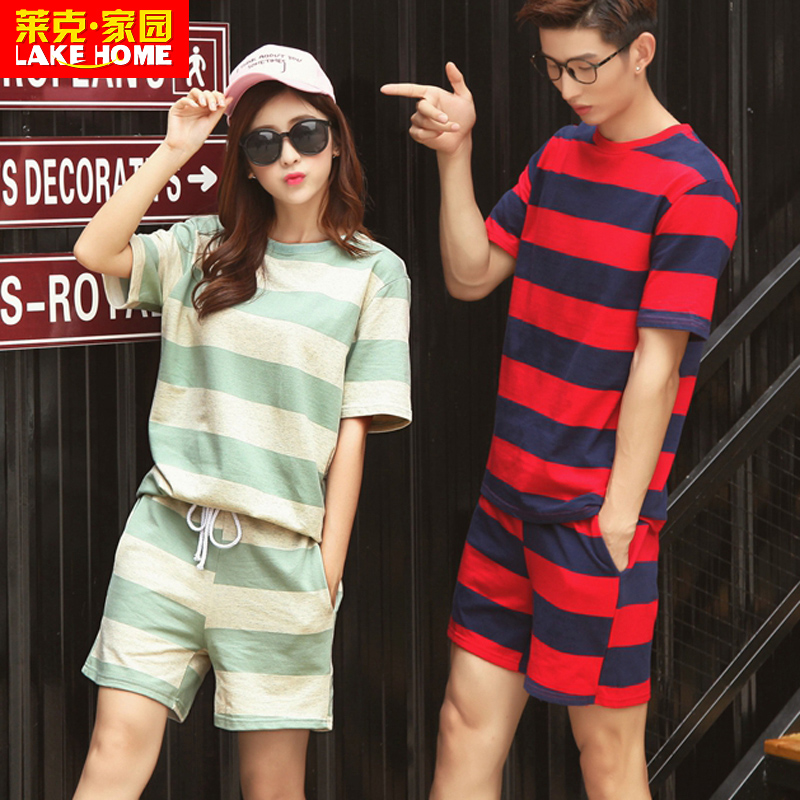 2016 new lovers summer short sleeve striped t-shirt shorts leisure sports suit class service men and women high school students at the beginning of