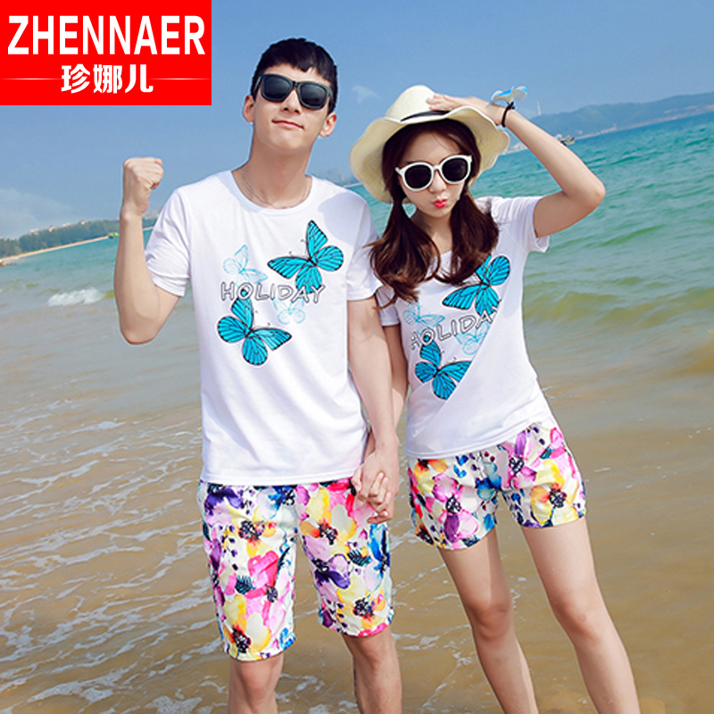 f2080ddf8e4e Get Quotations · 2016 new male and female lovers summer seaside resort beach  shorts short sleeve t-shirt