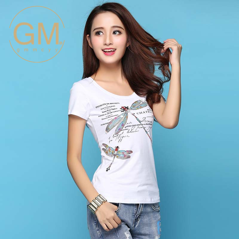 2016 new miss xia ji gmmcyy short sleeve slim was thin cotton round neck t-shirt fashion t-shirt 5606