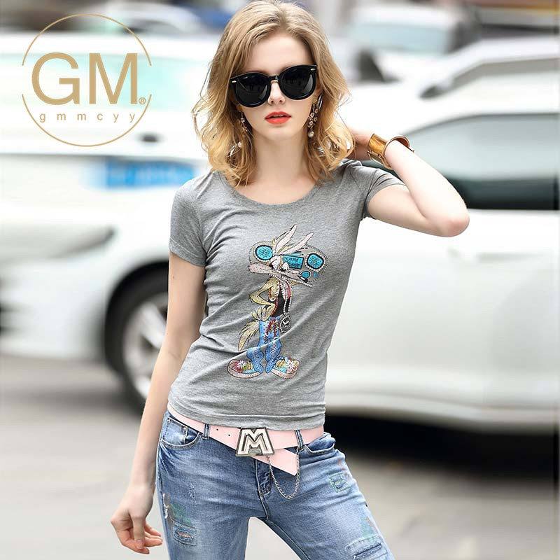 2016 new miss xia ji gmmcyy slim was thin cotton casual fashion round neck short sleeve t-shirt 4631