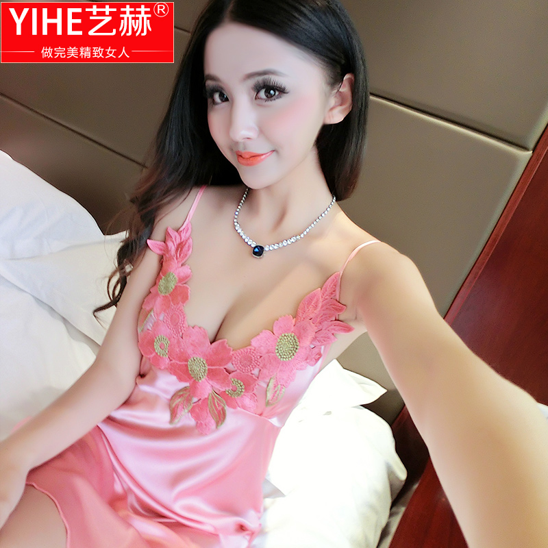 2016 new ms. pajamas summer sexy silk suspenders silk pajamas nightgown tracksuit thin section of the spring and summer