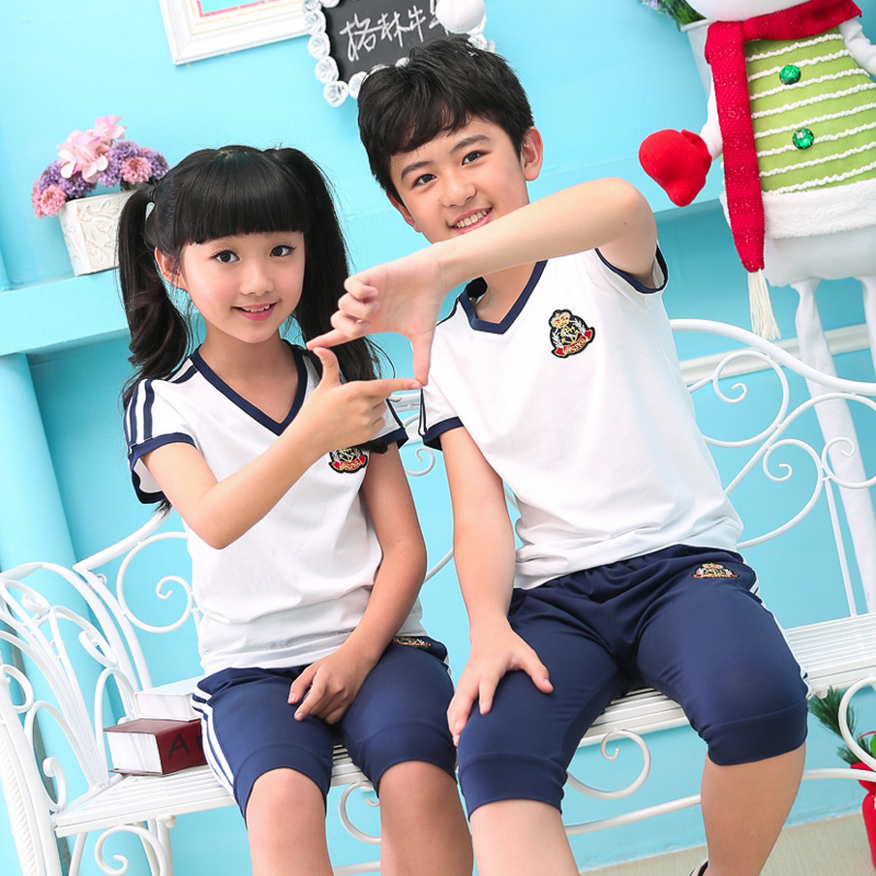 2016 new primary school uniforms england kindergarten students dress summer classes for children playing out clothes for boys and girls suits