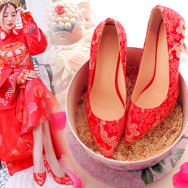 2016 new red bridal shoes red high heels wedding shoes fine with pointed shoes wedding shoes chinese wedding