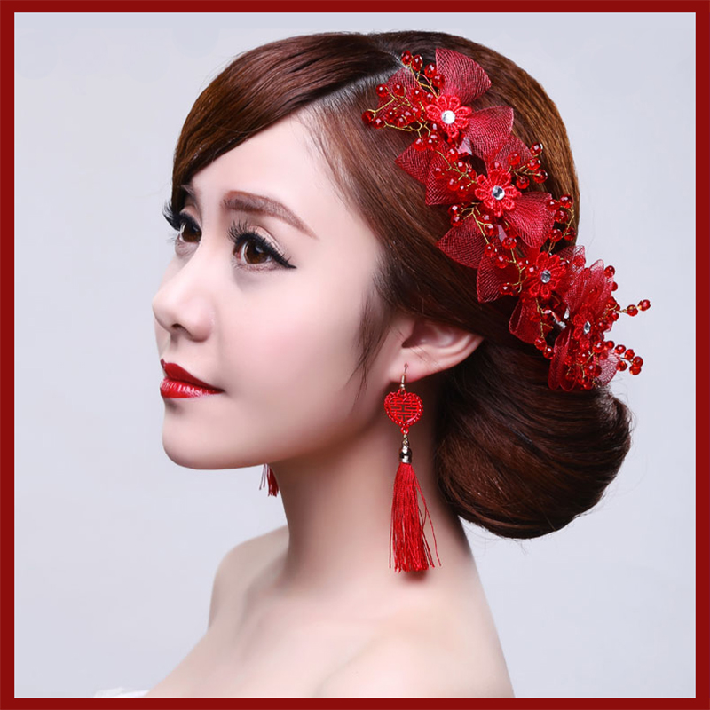 2016 new red bride toast clothing red chinese bride headdress flower head flower bridal headdress red flower head