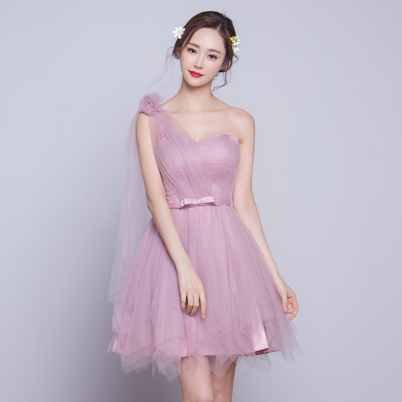 2016 new shoulder bridesmaid dress pink bridesmaid dress mission sisters dress short paragraph evening dress dress was thin
