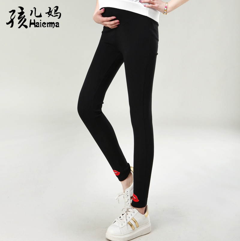 a90e6d8b910cd Get Quotations · 2016 new spring and autumn maternity fashion lipstick  pregnant women leggings big yards prop belly pants