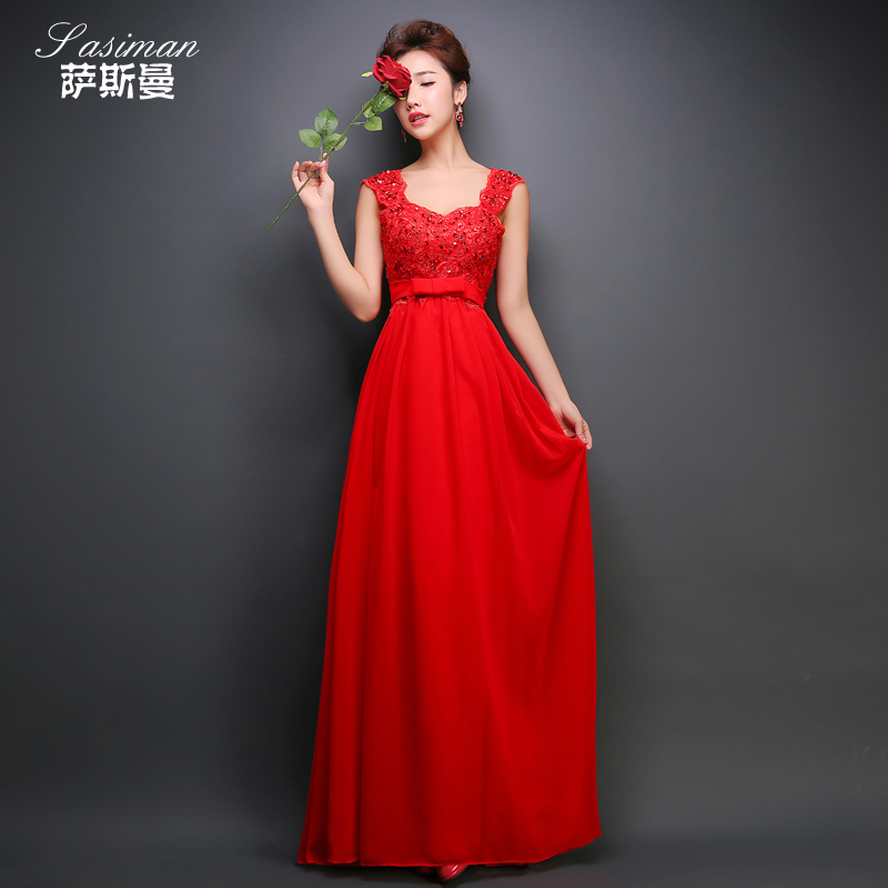 2016 new spring and summer high waist wedding dress red toast clothing for pregnant women word shoulder long evening dress bridal wedding dress