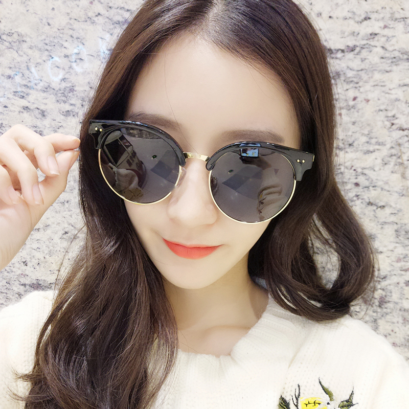 708473e423 Get Quotations · 2016 new star of the same paragraph sunglasses round  sunglasses female tide round face half frame