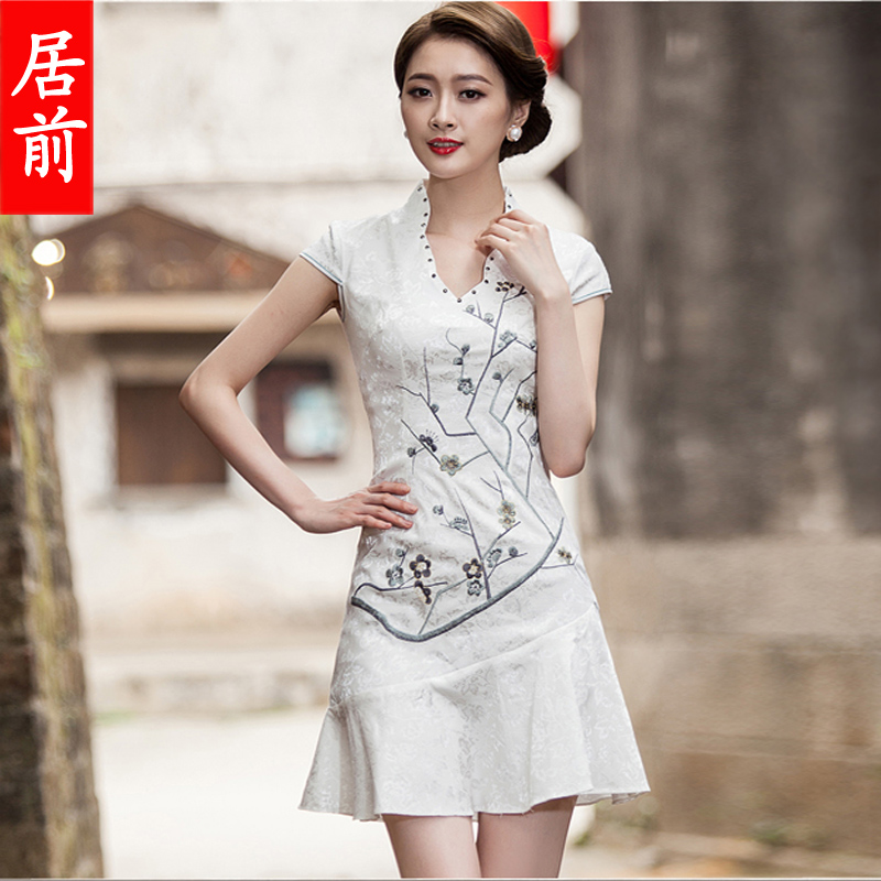 2016 new summer female short paragraph cheongsam fashion improved cheongsam dress embroidered cheongsam dress fishtail evening dress bride toast